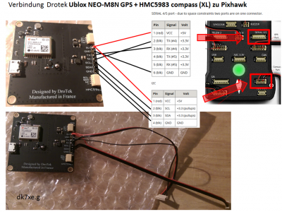 Drotek GPS / Magnetkompass Verkabelung Pixhawk